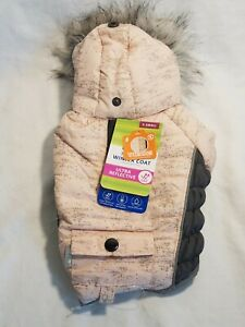 Top Paw Pink & Gray Insulated Hooded Dog Coat X Small NEW FREE SHIPPING