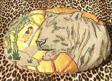 FRENCH 1920s BOUDOIR CUSHION PILLOW~ EMBROIDERED TIGER & PALM TREE ~SILK & LINEN