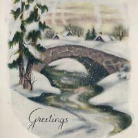 Vintage Early Mid Century Christmas Greeting Card Stone Bridge Snowy Scene