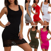 Vestito donna mini abito jersey fondo pizzo floreale abito canotta sexy VB-0083