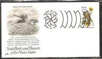 US SC # 1968 State Birds And Flowers ( Kansas ) FDC . Artcraft Cachet
