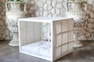 ATLAS, Indoor Wood Dog House, White Modern Crate, Luxury Pet Furniture, Sofa Bed