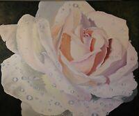 """Fresh Rose"" Original oil painting Impressionism hyper realism still life 20x24"""