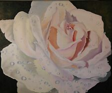 """Fresh Rose"" Original oil painting Impressionism hyper realism still life 20x24"""