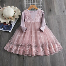 Lace Princess Girl Long Sleeves Dress Tutu Baby Kids Clothes Girls Party Wear