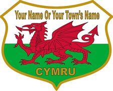 YOUR NAME PERSONALISED Welsh Dragon Flag Vinyl Stickers Wales Cymru Decals