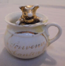 """Pig In Chamber Pot, Luster, Souvenir, Canton ?, O.(Ohio) ?, 2.75"""" Tall Vintage"""