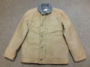 VTG USN N-1 Deck Style N1-2 Military Boa Fleece Lined Jacket Green Khaki 44 USA