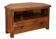 Vellar Living Chunky Solid Sheesham 1 Drawer Corner TV Cabinet Fully Assembled
