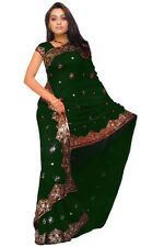 Indian Bollywood Wedding Sequin Chiffon Sari Saree Belly Dance Dress Jupe Kaftan