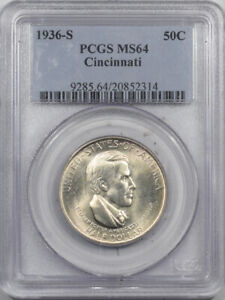 1936-S CINCINNATI COMMEMORATIVE HALF DOLLAR - PCGS MS-64 FRESH!