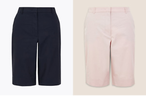 Gorgeous BNWT M&S Collection stretch cotton chino shorts - navy or pink - 14 16