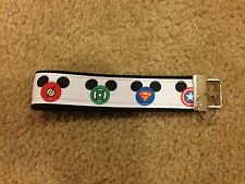 New Handmade superhero Mickey Mouse head Wristlet Key Chain Hand Lanyard Key Fob