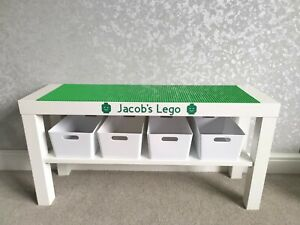 LEGO Table All Green Base Plates Organised Storage Play Set Up Personalised