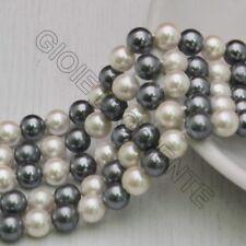 Perle Di Madreperla multicolor rotondo COL GRIGIO bianco 6 mm 66 pz per tuoi gio