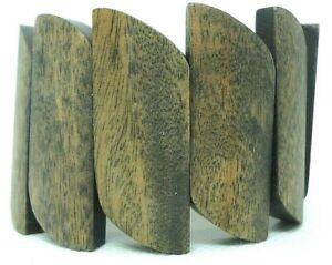 STRETCH BRACELET DARK WALNUT STAINED WOOD GRAIN SLAT BEADS BOHO STATEMENT WOMENS