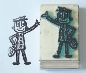 Mr Zip Mailman/Postal Carrier Waving rubber stamp Amazing Arts cute vintage fun