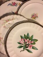Vintage Set of 4 Mismatched China Luncheon Plates Wedding Mad Hatter  Pink # 134