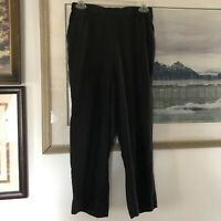 CP Shades 100% Linen Black Crop Capri Pull On Pants Pockets Sz M A1715