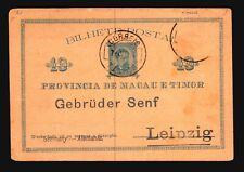 Timor 1894 Postal Card to Germany (Stamp Removed) - Z15124