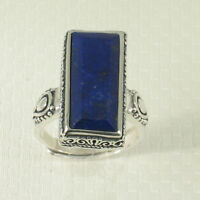 Solid Sterling Silver .925 Natural Blue 8X18mm Lapis Lazuli Solitaire Ring TPJ
