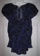 BCBGENERATION ROYAL BLUE BLACK SWIRL PRINT RUFFLE S TOP BLOUSE