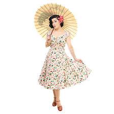 % Collectif Dolores Doll Atomic Flamingo Print robe XS, S ou M (8-12 UK)