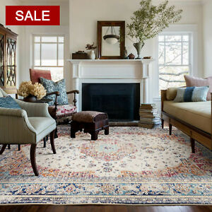 Large Floor Rugs Rust Red Allover Distressed Trational Persian Carpet Mat 5 Size