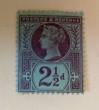 TWO AND A HALF PENCE GREAT BRITAIN STAMP VIOLET ON BLUE 1887