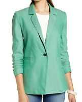 Halogen NWT Ruched Sleeve Blazer Size Small Green Clover 1-Button Career Womens