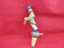 Anri Figure Carved Folk Art Mechanical Bottle Stopper Cork Tipsy Drinker