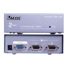 VGA SVGA Splitter Amplifier Box 2 Port Video Distribution for 1 PC to 2 Monitor
