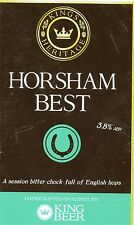 Beer pump clip front, KINGS HERITAGE BREWERY, HORSHAM BEST.