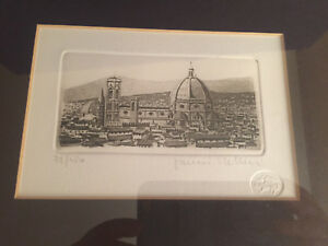 Framed/SIGNED etching of Florence Italy w/the Duomo by GIANNI RAFFAELLI mint w/d