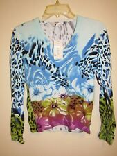 Vertigo Long Sleeves Blue Pink V-Neck Top with Cheetah Print Colorful Flowers, S
