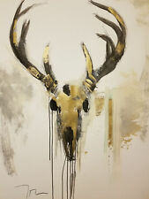 "JOSE TRUJILLO Deer Skull Art Large 30X40"" Drawing Painting ORIGINAL Contemporary"