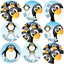 144 Penguin Fun Praise Words 30mm Children's Reward Stickers for Teachers