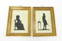 2 Vintage Kay Dee Linen Framed Silhouette Colonial Handmade Prints Knitting Army
