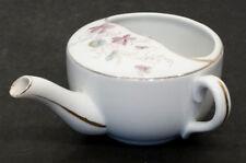 Antique MEDICAL INVALID FEEDER Porcelain PAP BOAT Hospital Sick Cup / VIOLETS