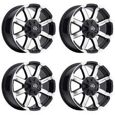 """Set 4 17"""" Vision 413 Valor Black Machined Wheels 17x8.5 8x180mm Chevy GMC 8 Lug"""