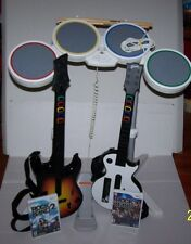 Wii Rock Band Drum Set, 2 Guitars Sticks Rock band 2 & 3 Game Lot Bundle