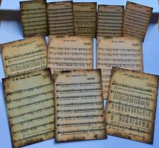 Christmas Carols song sheets ~ Vintage Card Toppers/Scrapbooking/Crafting