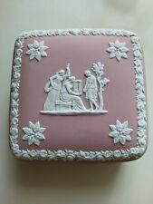 """New ListingVintage Wedgwood Pink Jasperware 4"""" Square Vanity Dresser Trinket Box As Is."""