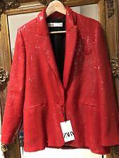 ZARA ❤️ Red Sequin Blazer Ltd Edition XSMALL XS BNWT Occasion Party