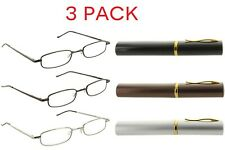 3 Pack Metal Reading Glasses Readers with Tube Case for Men and Women