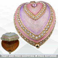 Heart Shaped Vintage Miniature Trinket Box with Hinged Lid Bejeweled Rhinestone