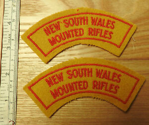 Original Military New South Wales Mounted Rifles Shoulder Title x2 Badges (4033)
