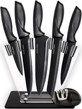 Chef Knife Set Knives Kitchen With Stand Plus Professional Sharpener