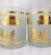 2 Gold Bar Rocks Drink Glasses Frosted Washington DC Historic Political Barware