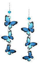 Sienna Sky 3 Part 3D Blue Morpho BUTTERFLY EARRINGS STERLING Silver + Gift Box17